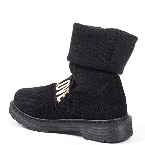 Ideal Shoes Bottes avec Tige Retroussée Façon Laine et Bande Élastique Taliane Noir