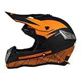 Woljay Off Road Helm Motocross-Helm Motorradhelm Motocrosshelme Fahrrad ATV (L, Black + Orange)