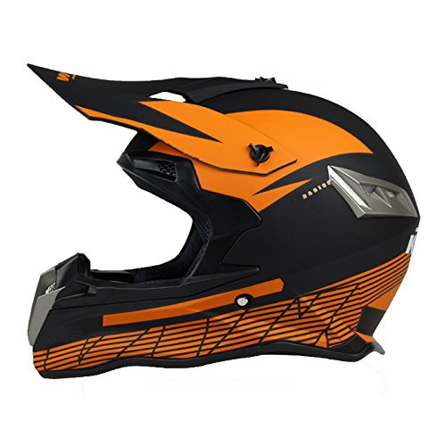 Woljay Off Road Helm Motocross-Helm Motorradhelm Motocrosshelme Fahrrad ATV (L, Black + Orange)