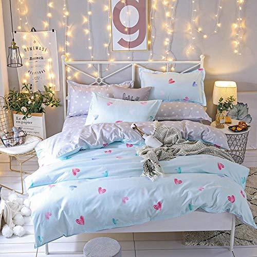 XIAO RUI Bettwäscheset hellblau herzförmiger Bettbezug Bettwäscheset Bettlaken Kissenbezug weiche Bettbezugdecke - vollständiges Set aus 4 Teilen,X-Twin-4pcs (Vollständige Bettbezug)