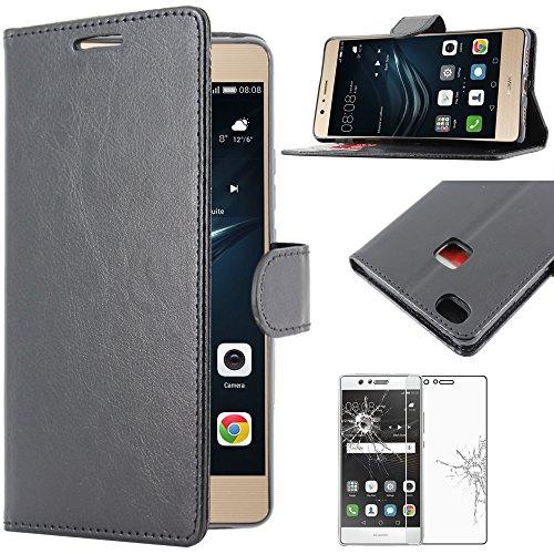 ebestStar - pour Huawei P9 Lite, G9 Lite - Housse Coque Etui Portefeuille Support PU Cuir + Film protection écran en VERRE Trempé, Couleur Noir [Dimensions PRECISES de votre appareil : 146.8 x 72.6 x 7.5 mm, écran 5.2''] [Note Importante Lire Description]