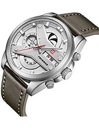 FAERDUO reloj de pulsera para caballero, cuarzo, resistente al agua, cronógrafo, visualización de fecha, reloj de negocios,…