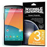 [HD CLARITY] Invisible Defender - Google Nexus 5 Protection d'écran Premium HD Crystal Clear films de protection d'écran with [3 PACK/Lifetime Replacement Warranty] High Definition Clarity Film The World's Best Selling Premium EXTREME CLEAR Screen Protector Protection d'écran pour Google Nexus 5
