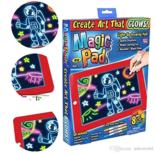 Tormeti Magic Pad | Light Up LED Board | Draw, Sketch, Create, Doodle, Art, Write, Learning Tablet | Includes 3 Dual Side Markets, 30 Stencils and 8 Colorful Effects, As Seen on TV