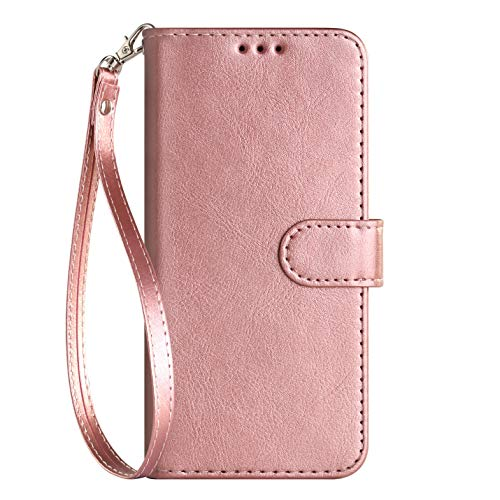iPod Touch Case 7th Generation 2019 5./6th for iPod 5/6/7 with Screen Protector Leather Bling Glitter Wallet Flip Stand Card Holder Slot for Men Boys Girls/Women, Rose Gold(Pure) (Ipod 3. Generation Flip Case)