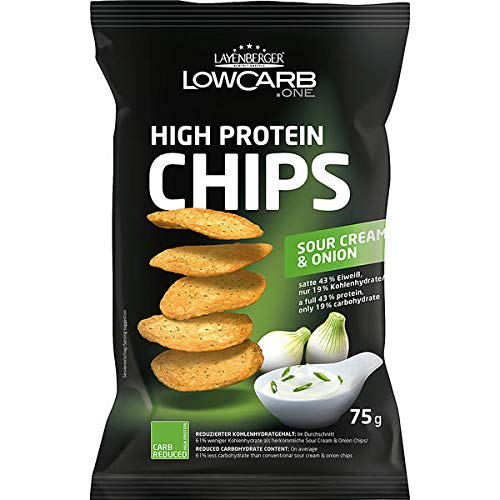5 Beutel a 75g Layenberger LowCarb.one High Protein Chips Sour Cream & Onions (Cream Onion Sour Chips)