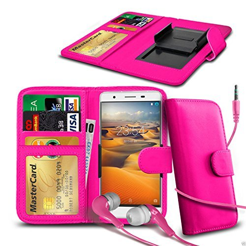 N4U Online - Clip On Kunstleder Hülle Tasche & Kopfhörer für HTC One (M8) - Verschiedene Farben - Rosa