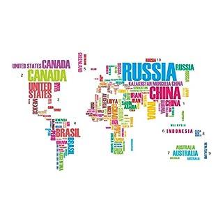 AWAKINK Colorful Englische Wörter Weltkarte Art Wand Aufkleber Aufkleber Vinyl für Parlour Fernsehen Wände Home Aufkleber Home Dekoration