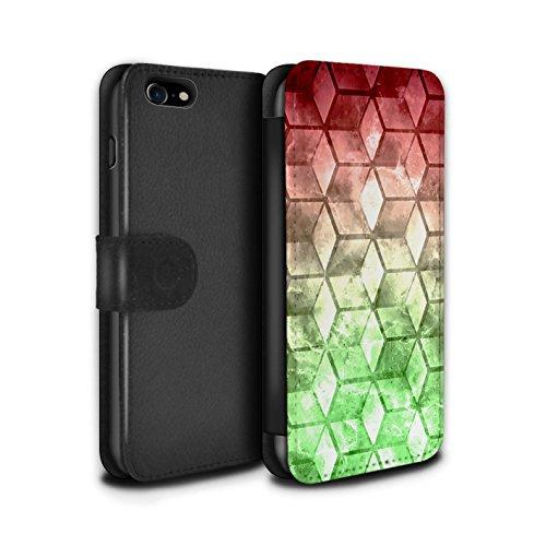 Stuff4 Coque/Etui/Housse Cuir PU Case/Cover pour Apple iPhone 7 / Vert/Bleu Design / Cubes colorés Collection Rouge / Vert