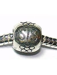 """""""Sis"""" Sister - plata de ley - a Pandora, pulseras estilo Chamilia etc - SpangleBead"""