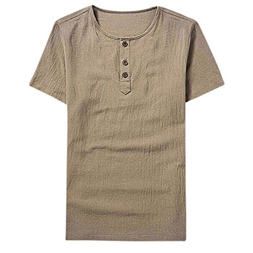 Herren T-Shirt ❤Persönlichkeit Männer Dünne O Neck T-Shirt Top❤Herren t-Shirt v Ausschnitt Herren t-Shirt Drucken Kontrast Trachtenhemd Poloshirt lässig Kurzarm Herren T-Shirt (Khaki, XL)