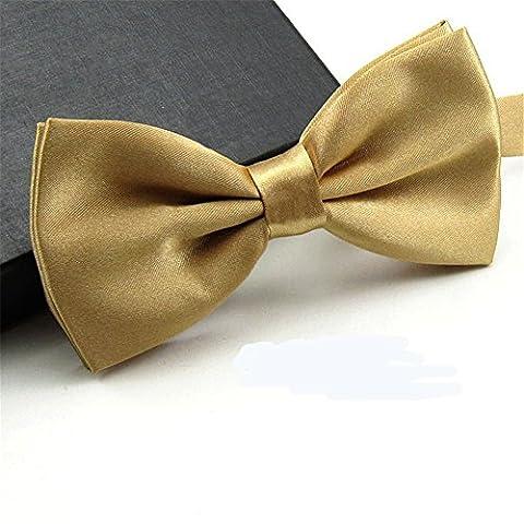 GSCH Mode Nœuds Papillon Cravate Tie Taille Reglable Mariage Soirée Busines pour homme Pure couleur (Champagne)