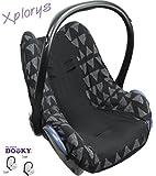 Original DOOKY BabyFit ** UNIVERSAL Schonbezug / Ersatzbezug für 3 und 5 Punkt Gurt System ** Babyschale, Autositz wie z.B. für Maxi-Cosi, Cybex etc.** BLACK TRIBAL **
