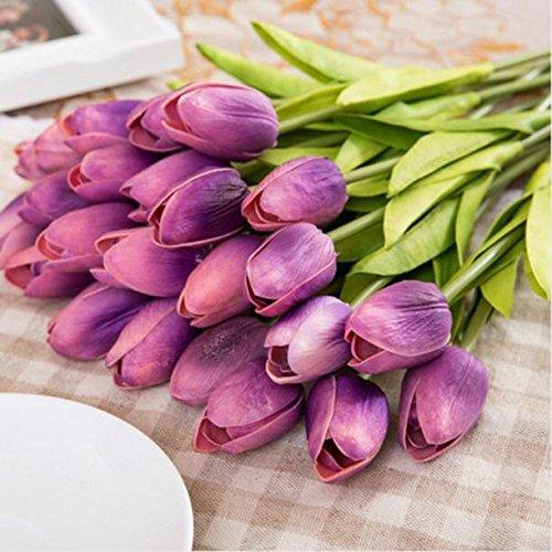 men,Tulpen Kunstblume Latex Real Touch Bridal Wedding Bouquet Home Decor, 10st Pfingstrose Floral künstliche Seide Künstliche Flanell Blume Brautstrauß Hochzeitsfeier Home Decor (lila) (Diy Hochzeit Bouquet)