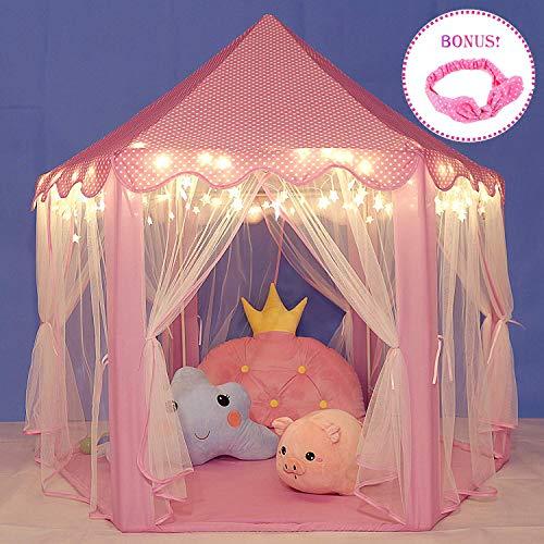 Sonnis Castillo Princesa Tienda Campaña Infantil,Carpa Plegable para niños con 40 Estrellas...