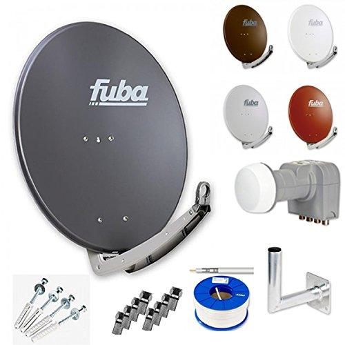 Fuba Digital HDTV Sat-Anlage 4 Teilnehmer | Fuba DAA 780 Premium Aluminium Sat-Antenne in Wunschfarbe + DEK 416 Quad LNB + Fuba DAZ Winkelwandhalter + 100m Fuba KKE 740 Koaxialkabel