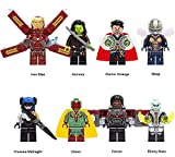 AVENGERS INFINITY WARS 8 Kompatible Figuren Lego - Iron Man, Gamora, Dottor Strange, The Wasp, Proxima Media Nox, Vision, Falcon, Fauce Ebenholz