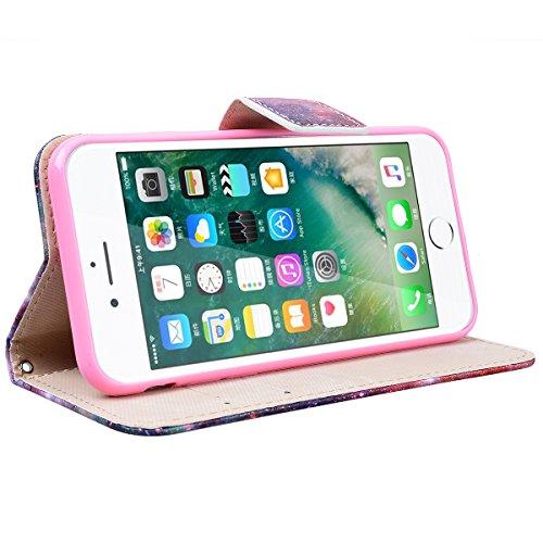 Yokata iPhone 7 Plus Hülle Leder Flip Wallet Case Ledertasche mit Kartenfach Ständer Halter Standfunktion Magnet und Weich Silikon Handyhülle Handy Etui Schutzhülle Protective Cover für iPhone 7 Plus  Stern