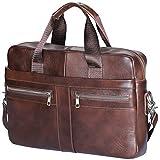 Aktentasche Herren Leder Echt, Unives 14 Zoll Laptoptaschen Businesstasche Vintage Ledertasche Henkeltasche Umhängetasche Schultertasche, Braun