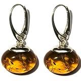 Noda 21618 - Pendientes de plata y ámbar báltico color miel