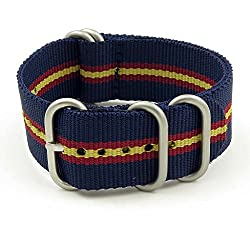 StrapsCo 16mm Navy Blue / Yellow / Burgundy Matte Silver 5-Ring G10 Ballistic Nylon Nato Zulu Watch Strap