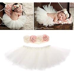 Jiamins Accessoire Photo bébé Fille Jupes bébé Tutu Costume de Princesse Photographie Nouveau né Bebe(pour 0-1 Mois bébé)
