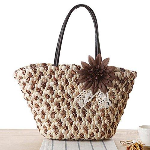 SUNAVY Damen Mode Mais Haut Schultertasche Sommer Strandtaschen Tragbar Handtaschen mit Süß Blume Dekoration,Grün Braun