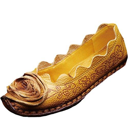 Vintage Handmade fleur Chaussures plates en cuir des