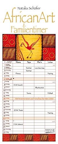 AfricanArt Familientimer 239419 2019: Familienplaner mit 4 breiten Spalten. Hochwertiger Familienkalender mit Ferienterminen, Vorschau bis März 2020. Mit Heißfolienprägung gold veredelt.