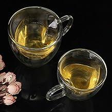 Resistente al calor de doble capa térmica de cristal en forma de corazón Latte tazas/tazas de café/tazas de té, juego de 2