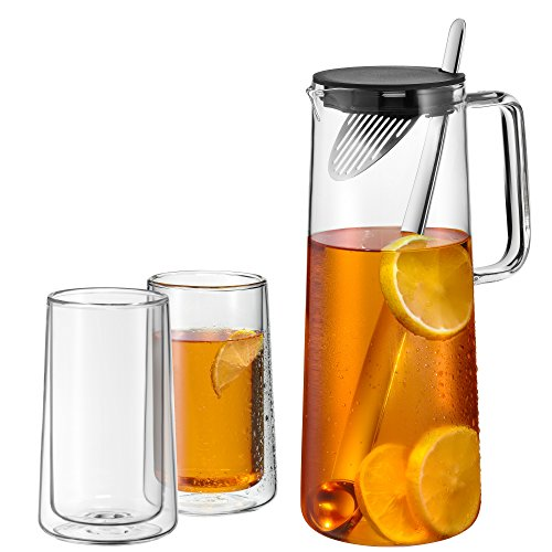 Espressomaschine Karaffe (WMF IceTeaTime Karaffen-Set, 2-teilig, Glaskaraffe 1,2 l, mit Sieb und Löffel, mit zwei Gläser doppelwandig 270 ml, spülmaschinengeeignet, hitzebeständig)