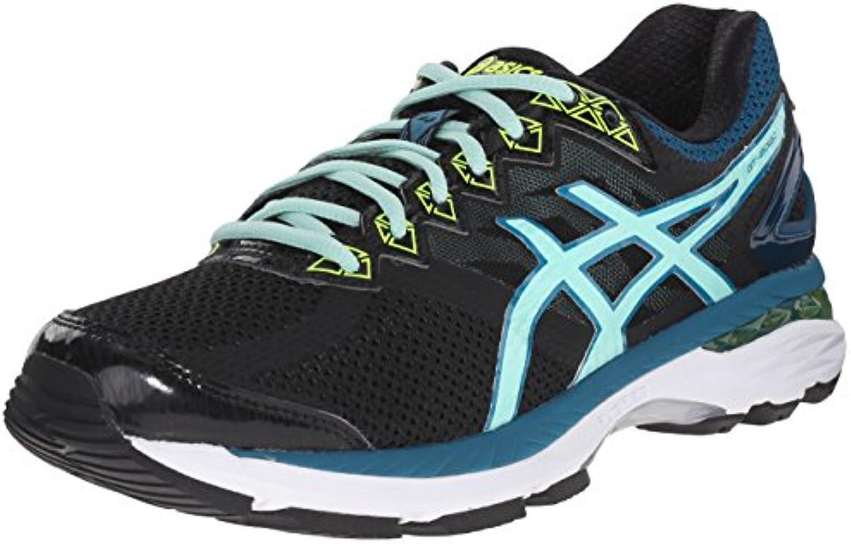 Zapatillas de running GT-2000 4 para mujer, Negro / Azul piscina / Amarillo intermitente, 5 M US