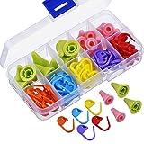 YJZ 70 Stück Stricken Häkeln Locking Maschenmarkierer Mix Farbe und 20 Stück 2 Größen Nadeln Maschenstopper