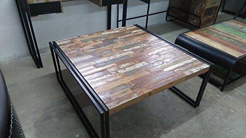 Table basse 100 cm Multicolore Bois Massif Métal Design Industriel Vintage Meubles Rétro