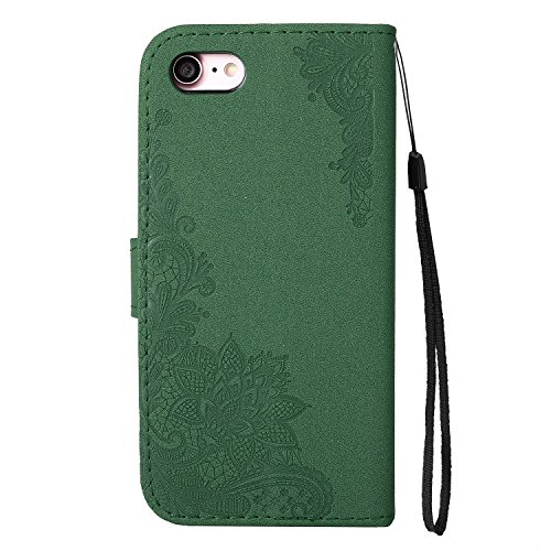 Glitter Sparkles Flower Embossing Style Housse en cuir PU Case à bagages avec doux TPU Back Cover & Lanyard & Kickstand pour iPhone 7 ( Color : Red ) Green