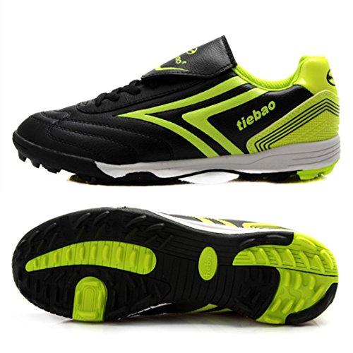 Men's Chuteira Soccer Turf Soles Football Shoes Black Green