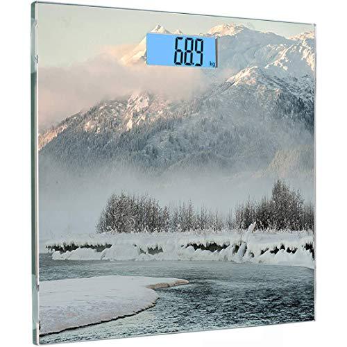 Ultraflache, hochpräzise Sensoren Digitale Personenwaage Alaska Gehärtetes Glas Personenwaage, Chilkat Valley Mit Schnee bedeckt Wintersaison Landschaft Idyllische Szene aus dem Norden, Schwarzbraun P -