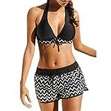OverDose Damen Frauen Tankini Sets Beachwear Bademode Schwimmkleid Zweiteilige Badeanzüge Bikini Sets (Schwarz,S)