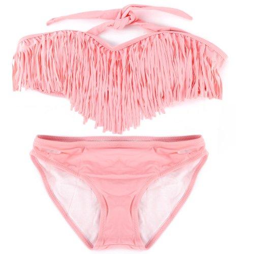 SSITG Damen Bikini Bikini mit Quast Bandeau Damen Bademode Tassel Bandeau Fringe Top BIKINI Bottom BEACH Swimsuit SWIMWEAR Gift Pink