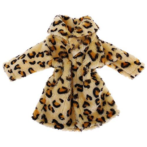 P Prettyia Modische Puppen Plüsch Mantel Kleidung Winterjacke Outfit für 18 Zoll Amerikanischen Mädchen Puppe - Gelb
