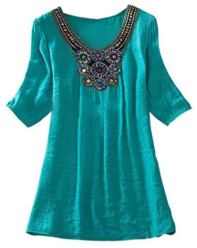 Frauen Sommer Reizvolle Fünfte Hülse Loose Rundkragens T-Shirt Tops Große Größen Setzen Sie Perlen Stickerei Shirt Oberteile Sweatshirt Grün