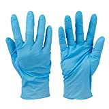 Silverline 279250 - Guantes de nitrilo desechables sin polvo, 100 pzas (Color azul, talla grande)