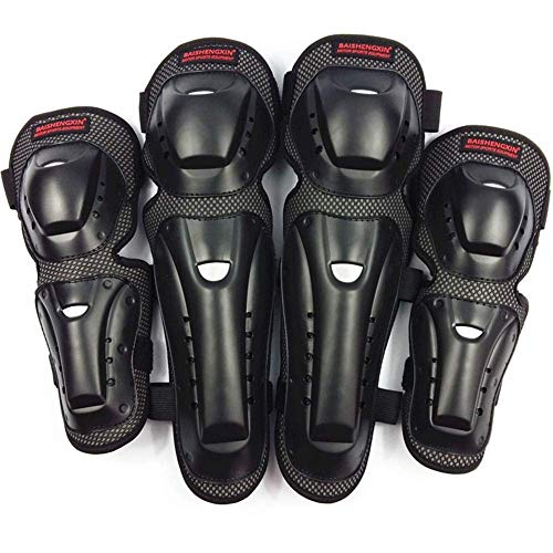 Beimaji Trade Moto équipement de protection Lot de 4 anti chute Racing Titan Race Anti-Shock protection articulaire genou pour adulte Protège-tibias Off-road Moto Body Armour d'équitation genou Coudières