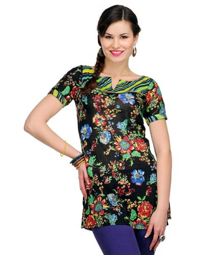 Yepme Women's Cotton & Polyester Aimee Printed Black & Multicolor Kurti - S  available at amazon for Rs.199