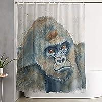 "PKLUAS Simple Modern Mildew-Resistant Gorilla Watercolor Shower Curtains Print Decorative Bathroom With Hooks 60""x72"""
