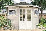 Alpholz 5 Eck Gartenhaus Sonne-B – Design Garten Pavillon aus Massivholz - Gartenhütte inkl. 2 Echtglas Fenster mit Sprossen-Rahmen ohne Imprägnierung