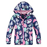 Lau's Mädchen Regenjacke Gefüttert Atmungsaktiv Outdoor Übergangsjacke Funktionsjacke Kinder Wasserdichte Jacke