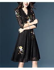 Elegante vestido de encaje bordado de cuello en V manga media temperamento media falda,XL