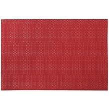 Vinylla Manteles individuales de vinilo fáciles de limpiar., vinilo, Rojo, 4 unidades