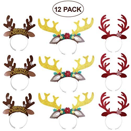 Bestoyard 12pcs carino renna antlers cerchietto per capelli con orecchie accessori per copricapi halloween natale regalo di compleanno per i bambini